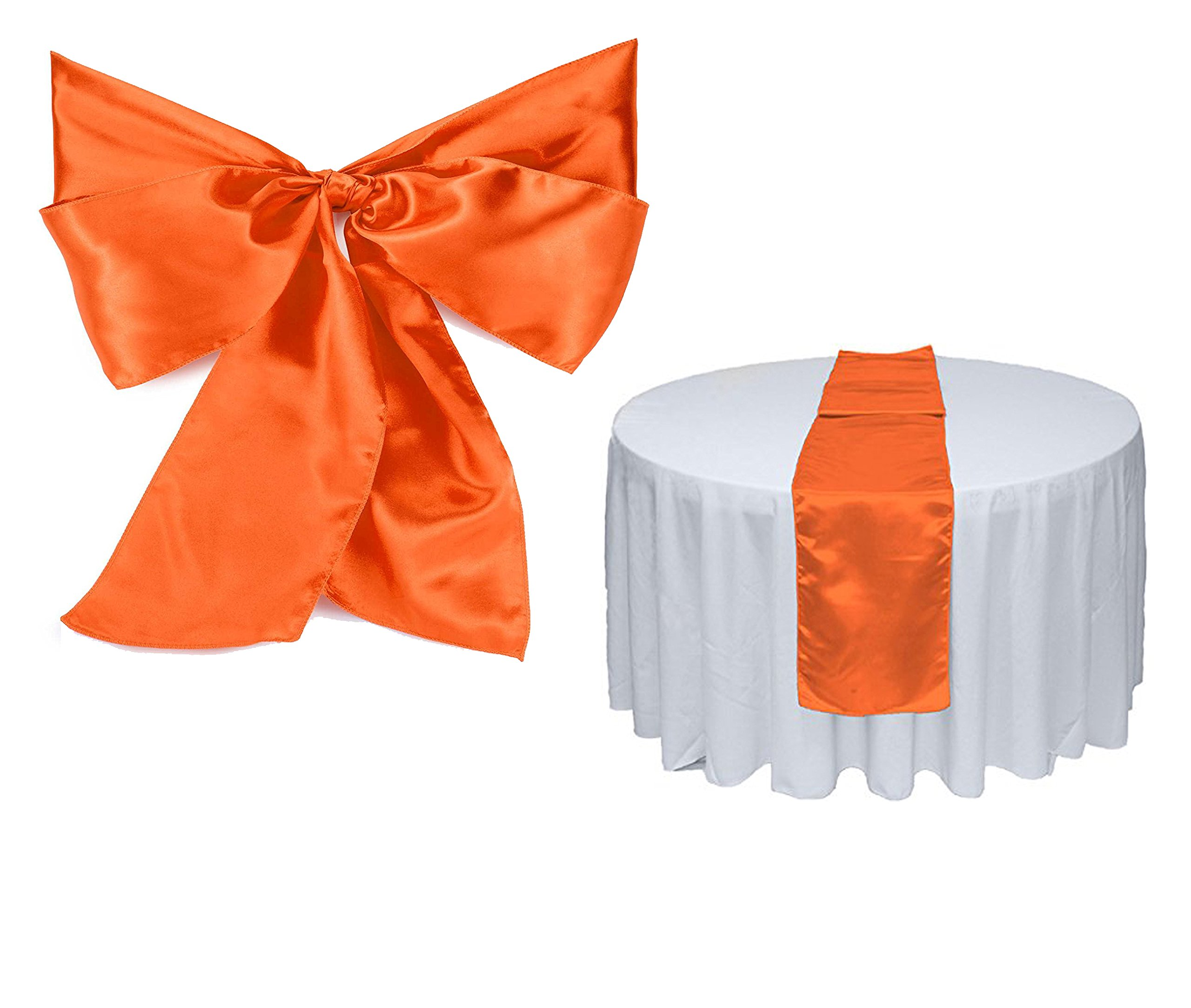 Elina Home Combo Satin Pack 2 Table Runner 12x108Inch & 10 Chair Bow Sash Wedding Banquet Kitchen HomeDecor (Orange)