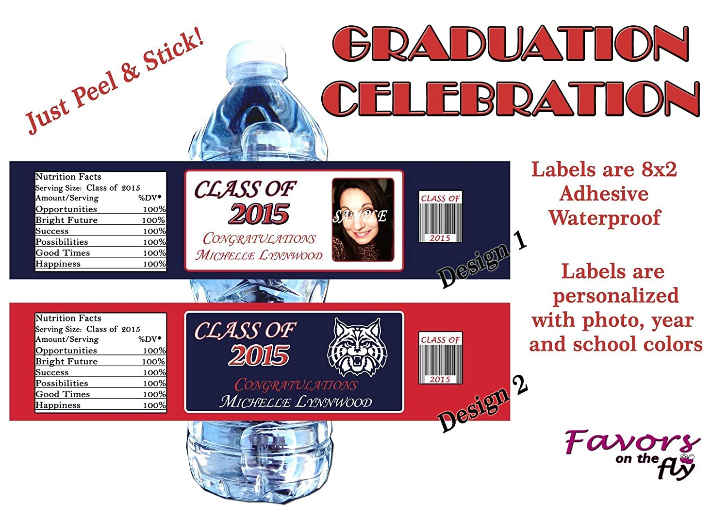 20 Graduation Waterproof Adhesive Water Bottle Labels personalized with photo and school colors!