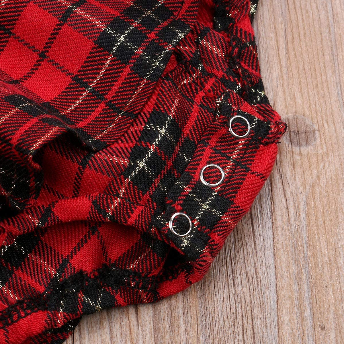 Newborn Baby Girls Red Plaid Romper Christmas Infant Ruffle Sleeveless Bodysuit Outfits Kids Cotton Clothing