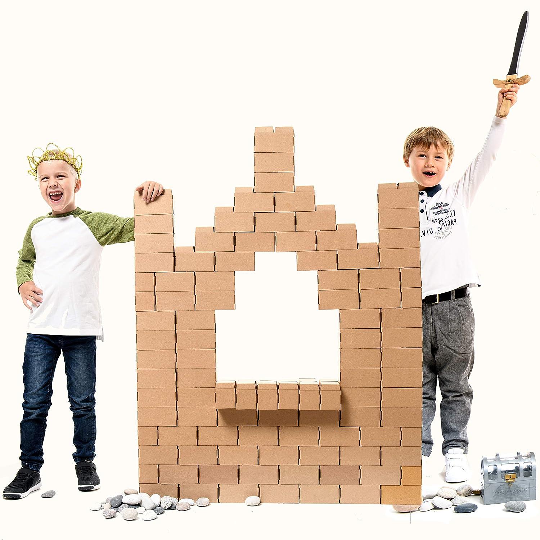 Gigi Bloks Bloques de Construcción Gigantes de Cartón para Niños | Set de Bloques Infantiles de 96 Piezas XL Apilables | Juguetes Montessori de Ladrillos de ...