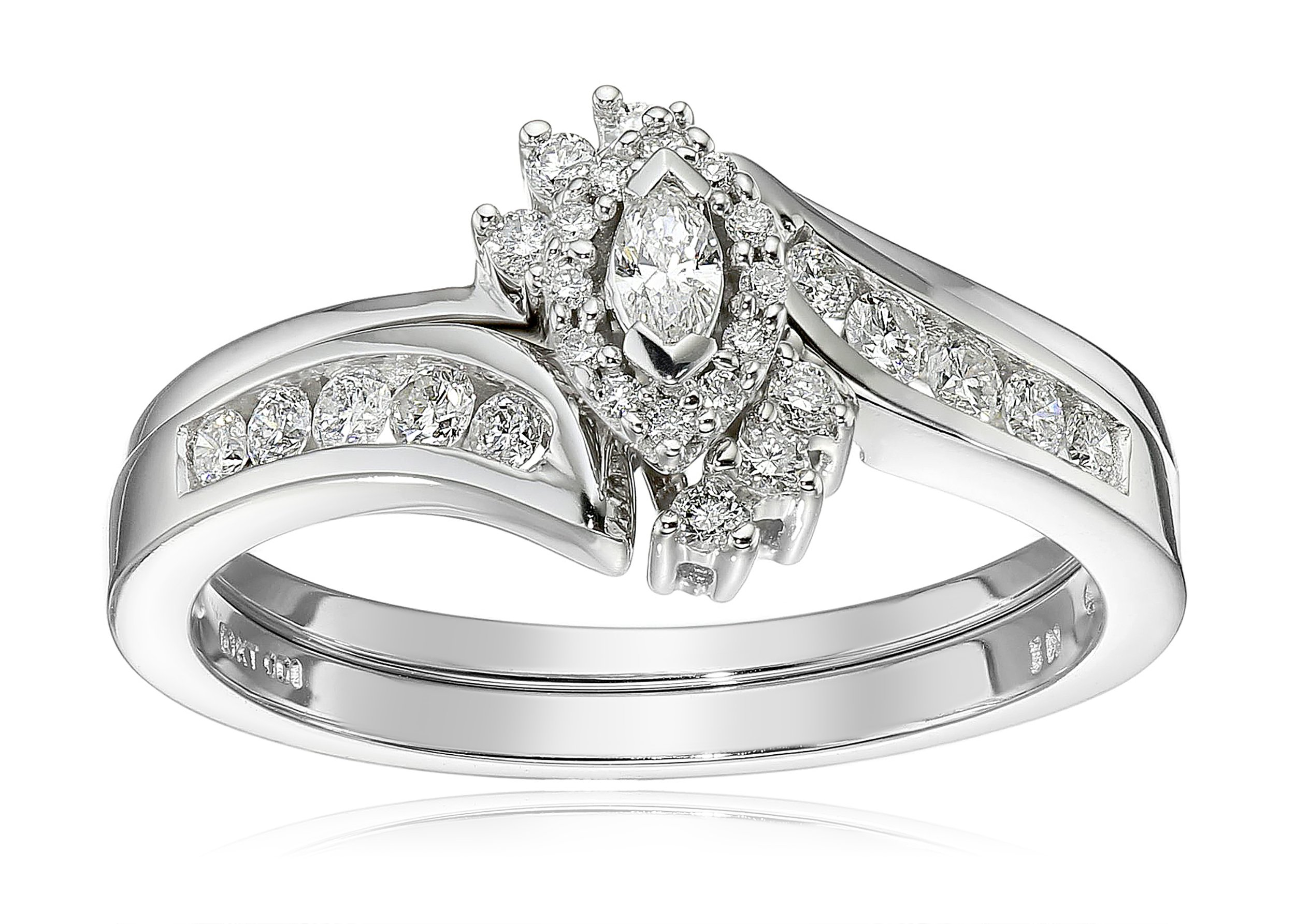 10k White Gold Marquise and Round Diamond Bypass with Interlocking Band Bridal Set (0.33 cttw I-J Color, I2 Clarity), Size 8,white,