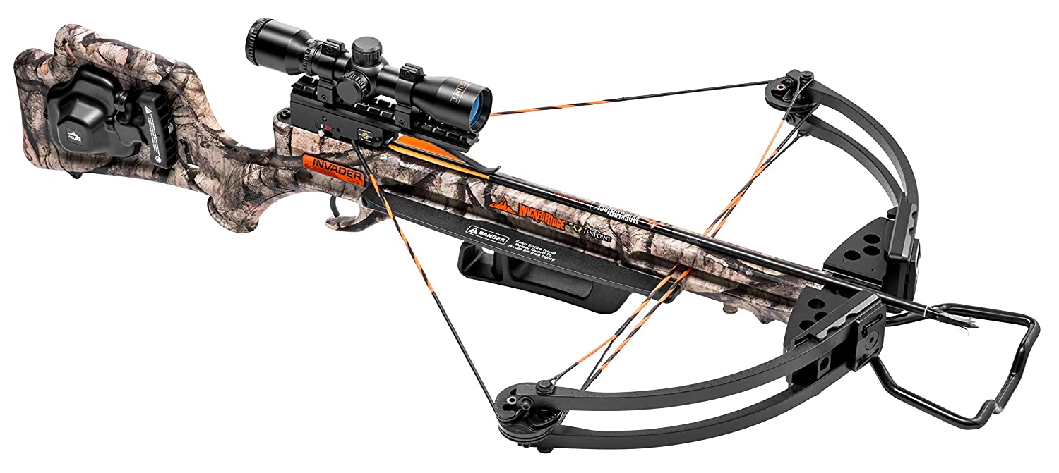 Wicked Ridge by TenPoint Invader G3 Crossbow Package with 3x Multi-Line Scope, 3 Carbon Arrows, and Quiver