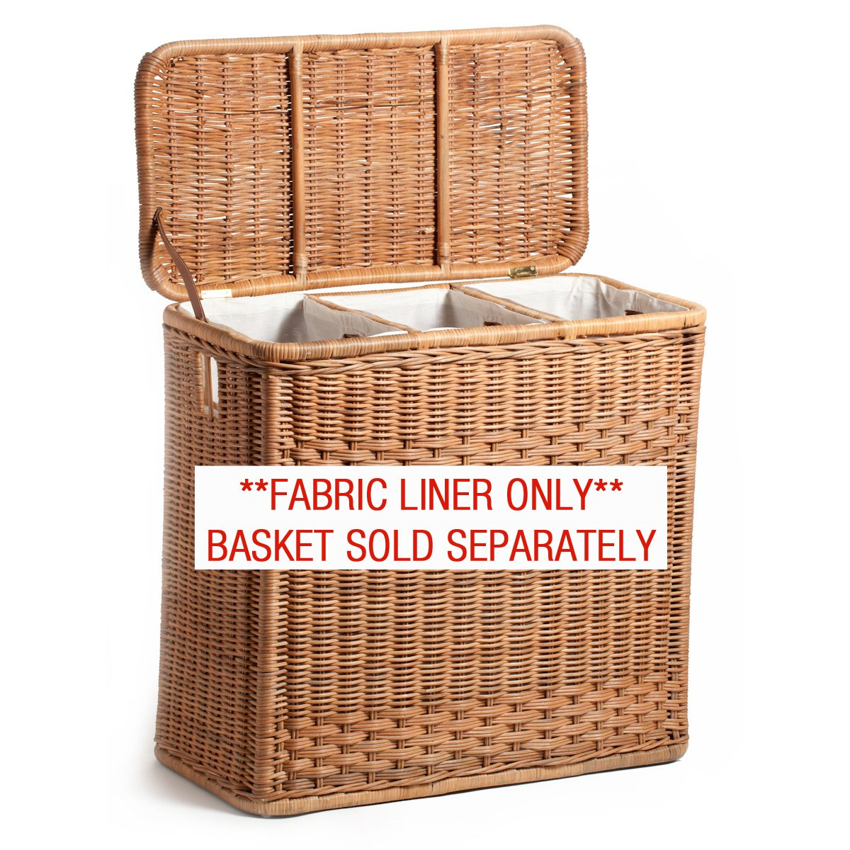 The Basket Lady Fabric Liner for 3-Compartment Wicker Laundry Hamper (LINER ONLY), One Section, Natural by The Basket Lady (Image #1)