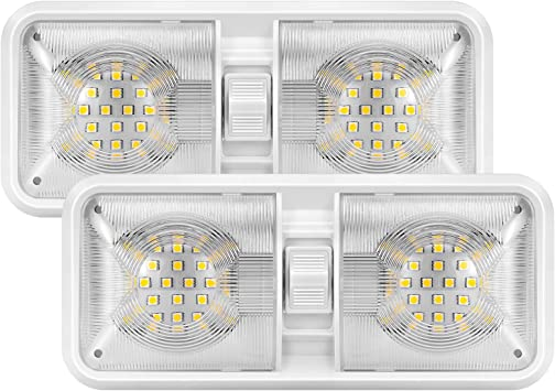 Kohree Upgrade Dimmable LED RV Ceiling Double Dome Lights Interior Adjustable 12V LED Camper Lighting Fixtures with Frosted Cover for RV Trailer Camper Boat-Natural White 4000-4500K 800Lumen 2 Packs