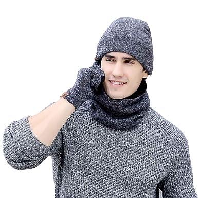ed9c0c9368fb UMIPUBO Chapeau Hiver Chauffant Bonnet,Écharpe de Doublure Chaud,Gants  Tactiles Tricot Unisexe Trois