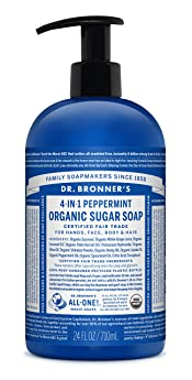 Dr. Bronner's Organic Peppermint Sugar Soap. 4-in-1 Organic Pump Soap for Home and Body (24 oz)