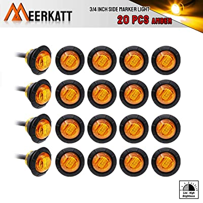 Meerkatt (Pack of 20) 3/4 Inch Mini Amber Lamp Round Side Marker Indicator Light with Grommet for Truck Lorry Trailer Bus Pickup Van Caravan ATV Turn Signal Tail 12V DC Waterproof Super Bright 3LED-HL: Automotive