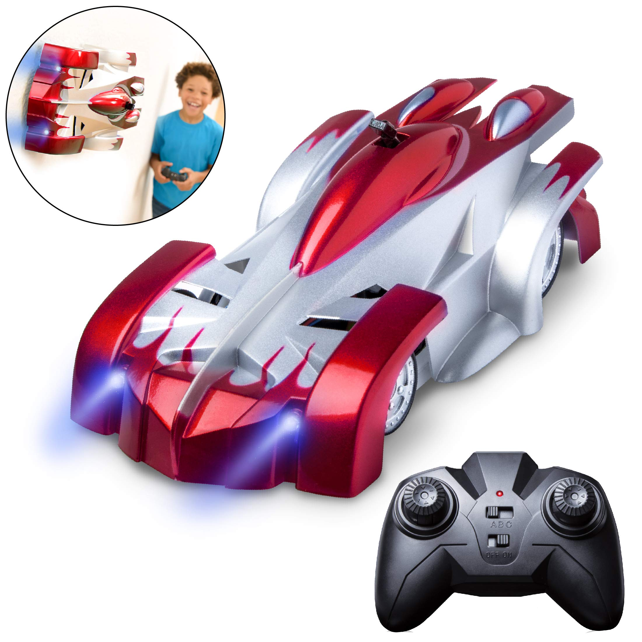 Force1 Remote Control Car Gravity Defying RC Car - RC Cars for Kids and Adults, Race Car Boys Toys for Floor or Wall w/ USB for Rechargeable Fast RC Car (Red) by Force1 (Image #1)