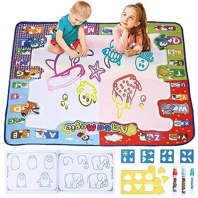 amzdeal Agua Dibujo Pintura Alfombra de Agua Doodle para niño, esteras de Agua Doodle con 1* Libro magico, 3* bolígrafos para Pintar