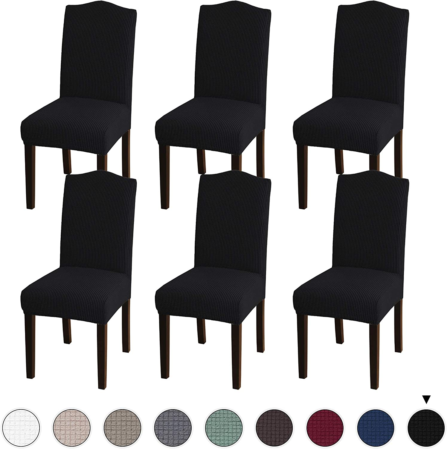 Turquoize Stretch Dining Chair Velvet Fabric Slipcovers Washable Removable Chair Slipcover Dining Chair Protector Cover for Dining Room Set of 6, Black