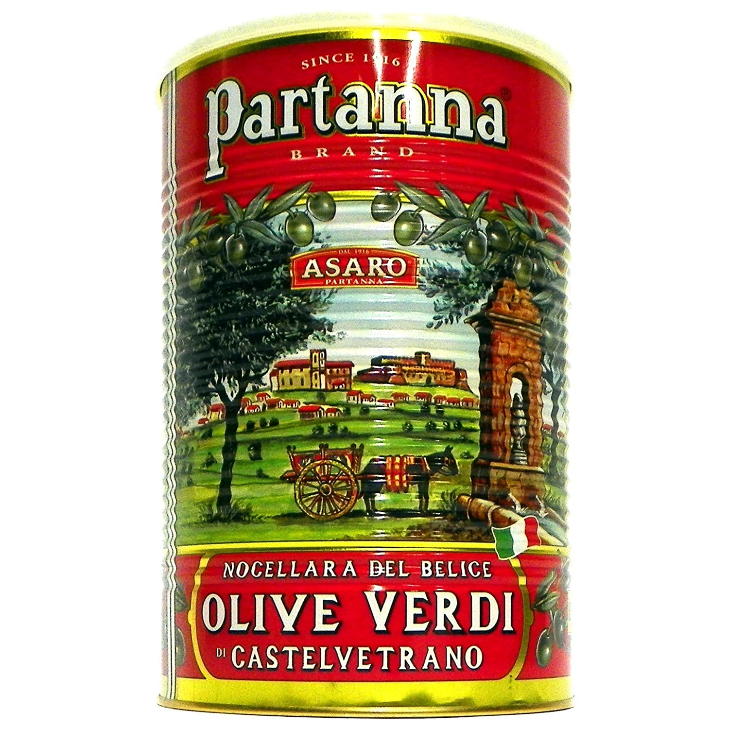 Partanna Premium Select Castelvetrano Olives, Pitted Sicilian Green, 4.4 Pound