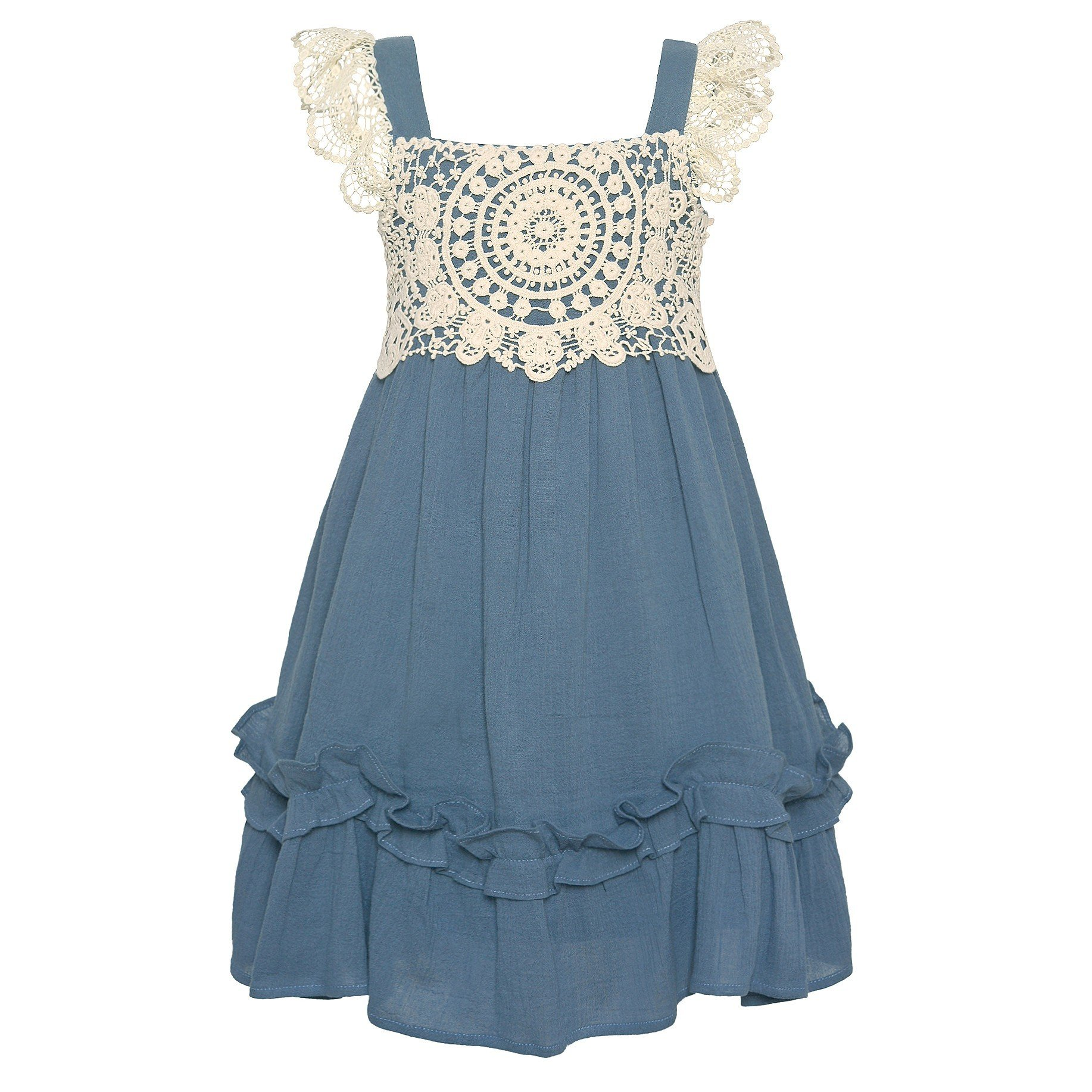 Bonnie Jean Little Girls Blue Cotton Lace Ruffle Back Tie Summer Dress 4T