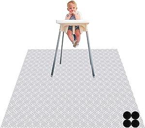 Paw Legend Washable Highchair Splat Floor Mat- Anti-Slip Silicone Spot Splash Mess Mat(53'' X 53'')-Food Catcher Art Craft Leak Proof Mat,Diamond