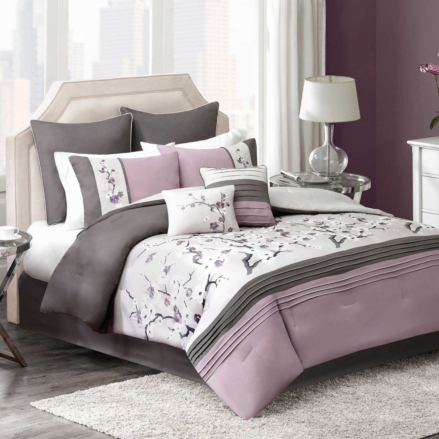 Modern Elegant Plum Bedding Floral Embroidered Comforter Set