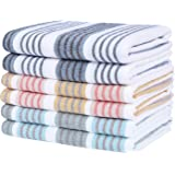 Homaxy 100% Natural Cotton Terry Kitchen Dish Cloths, 12 x 12 inch Ultra Absorbent Drying Dish Towels, Stripe Plaid Dish Rags