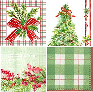 Boston International 20 Count 3-Ply Paper Christmas Cocktail Napkins, Set of 4