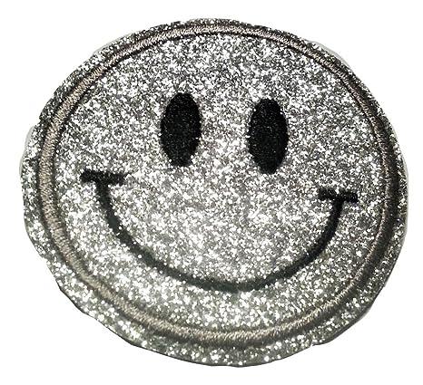 Bügel Iron on Smiley Aufnäher Patches Glitzer für Jacken Cap Hosen Jeans Kleidung Stoff Kleider Bügelbilder Sticker Applikati