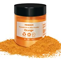 HEMOER Mica Powder - 50g/1.76oz Orange Natural Pigment Organized with Pearl Luster for DIY Epoxy Resin Crafts, Soap…