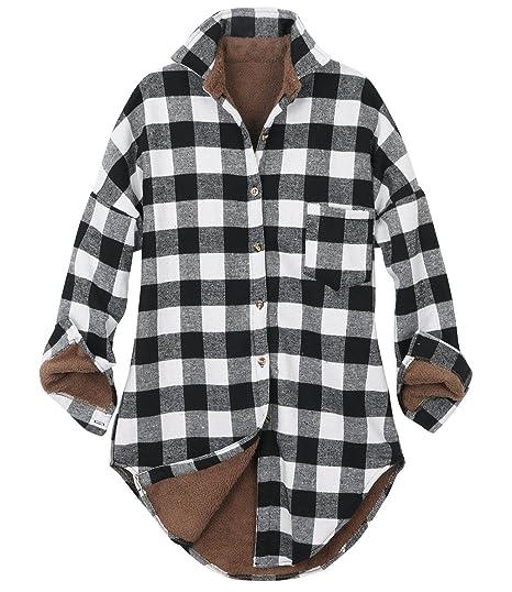 fa5d3ace ililily Women Checkered Plaid Sherpa Lined Flannel Long Shirt Trucker  Jacket (Medium, Buffalo Black White): Amazon.co.uk: Clothing