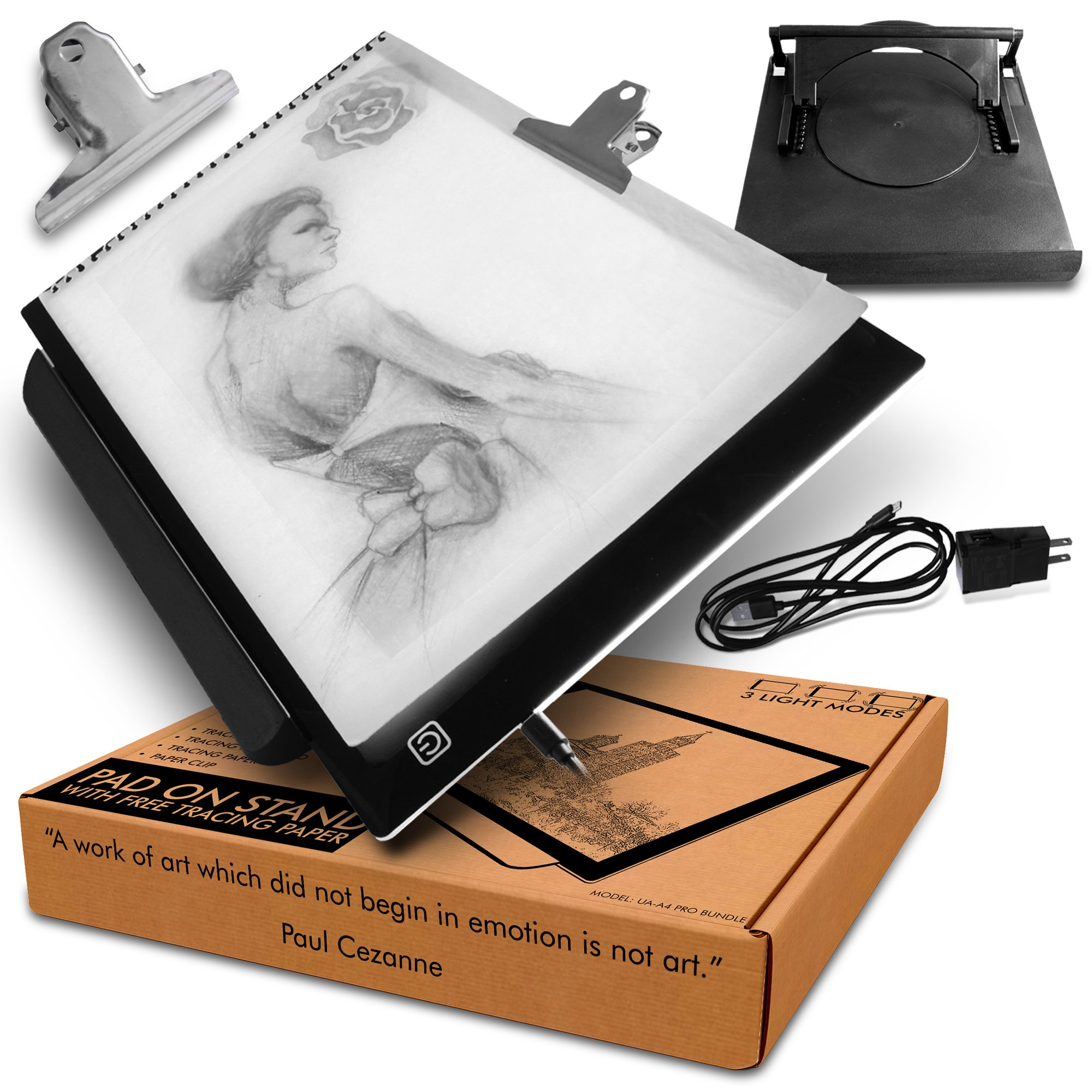 A4 LED Lightbox for Drawing Board with Rotating Multi-Function Adjustable Stand to Suit A3/A4 pad with Free Animation Tracing Paper (10pk) and Clip