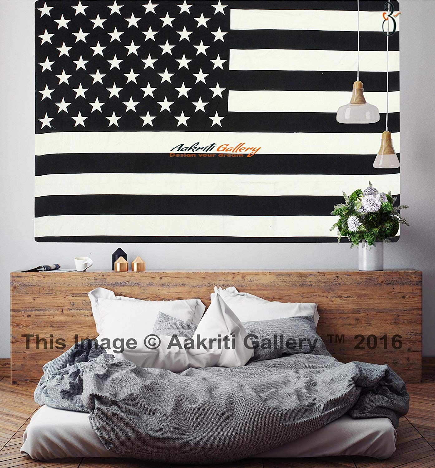 Aakriti Gallery Black and White Twin Tapestry Hippie Wall Hanging Art Decor Single Mandala Tapestry Hippie Dorm 84X55 inches (Flag)