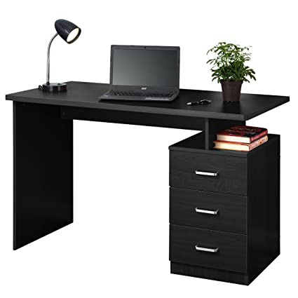 amazon com fineboard home office desk with 3 drawers black rh amazon com desks with drawers ikea desks with drawers on one side