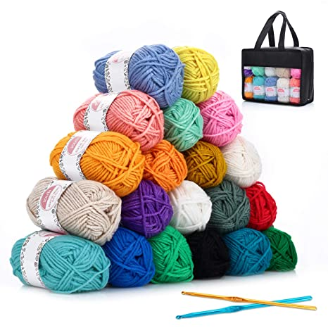 Hilo Acrílico SOLEDI lana prémium ovillos de hilo para tejer, perfecto para DIY y tejer a mano, con gratis ganchillo y bolsa de almacenamiento (25 g * ...
