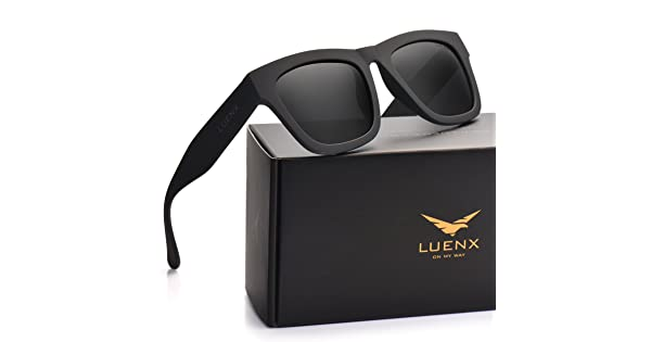 829bed0090 LUENX Mens Wayfarer Polarized Sunglasses Classic UV 400 Protection Black  Lens Matte Black Frame 58MM with Case