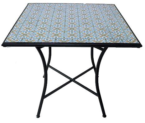 Tavolo da giardino ferro e mosaico for Tavolo quadrato mondo convenienza