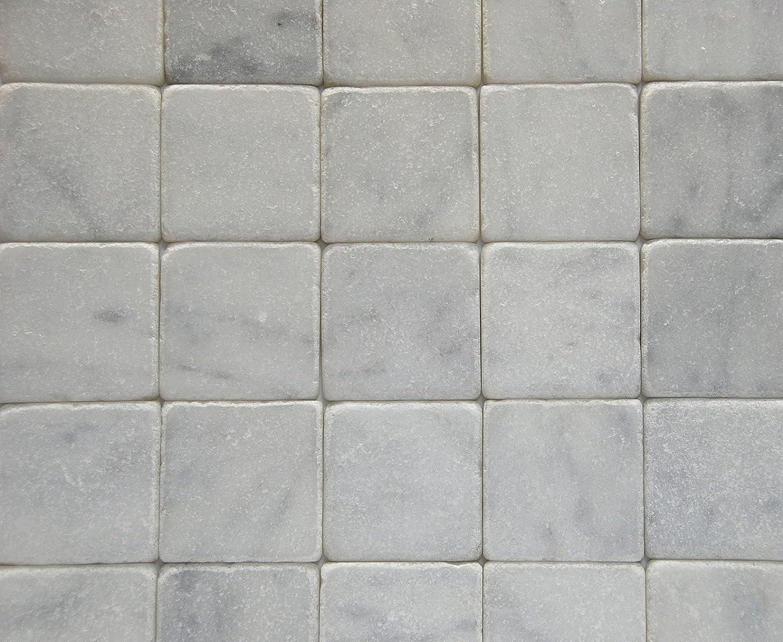 White marble tile flooring Pattern Carrara Marble Italian White Bianco Carrera 4x4 Marble Tile Tumbled Amazoncom Carrara Marble Collection Carrara Marble Italian White Bianco Carrera 4x4 Marble Tile Tumbled