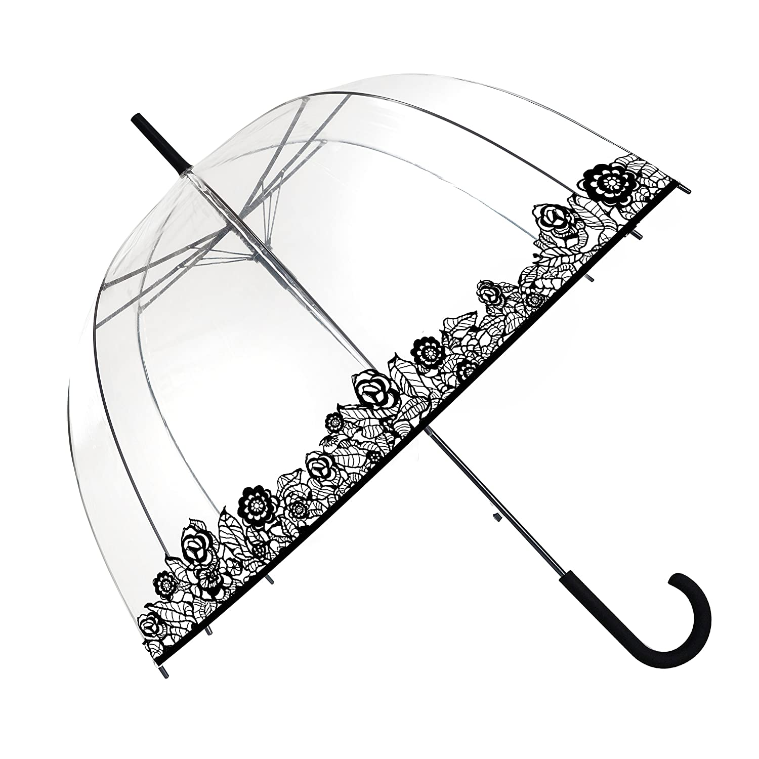 SMATI Stick Clear Stars Umbrella - Birdcage Dome See Through (Mom and Kid) (Dog)