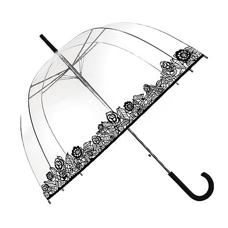 SMATI Paraguas Largo Transparente Forma de Campana automático-Estampado - Rosa Negro