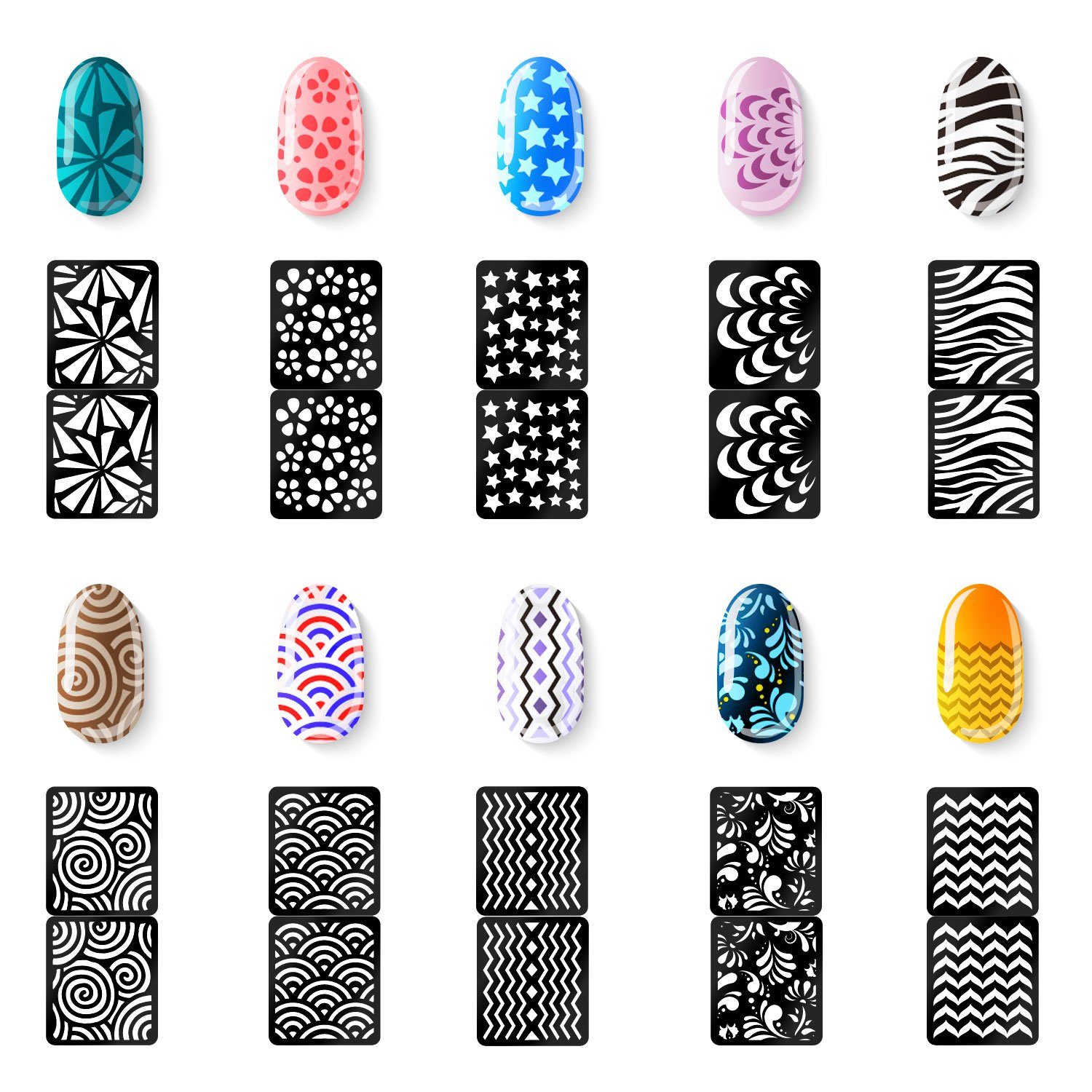 Amazon Mudder 72 Designs 144 Pieces Nail Vinyls Stencils Nails Stickers Set 24 Sheets Cute Easy Art Decal Beauty