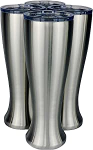 Mason Forge | Stainless Steel Pint Double Insulated Beer Tumbler | Double Wall Vacuum Insulated | Sweat & Condensation Free | HOT or COLD Beverages | Pilsner Style Glass | 16 Ounce | Set of 4 Tumblers