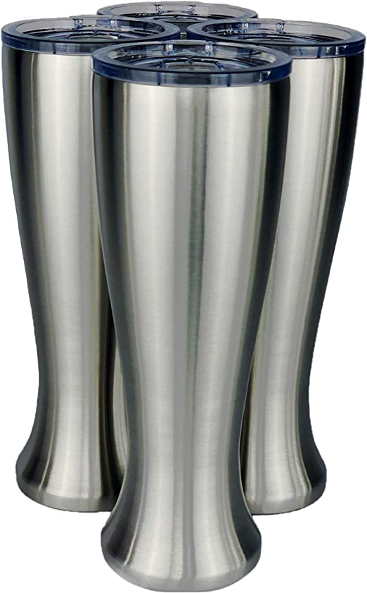Perfect for COLD or HOT beverages Mason Forge Stainless Steel Double Wall Vacuum Insulated 14 Ounce Pilsner Style Beer Tumbler Set of 4 Sweat Free Double Wall Vacuum Insulated Beer Tumbler
