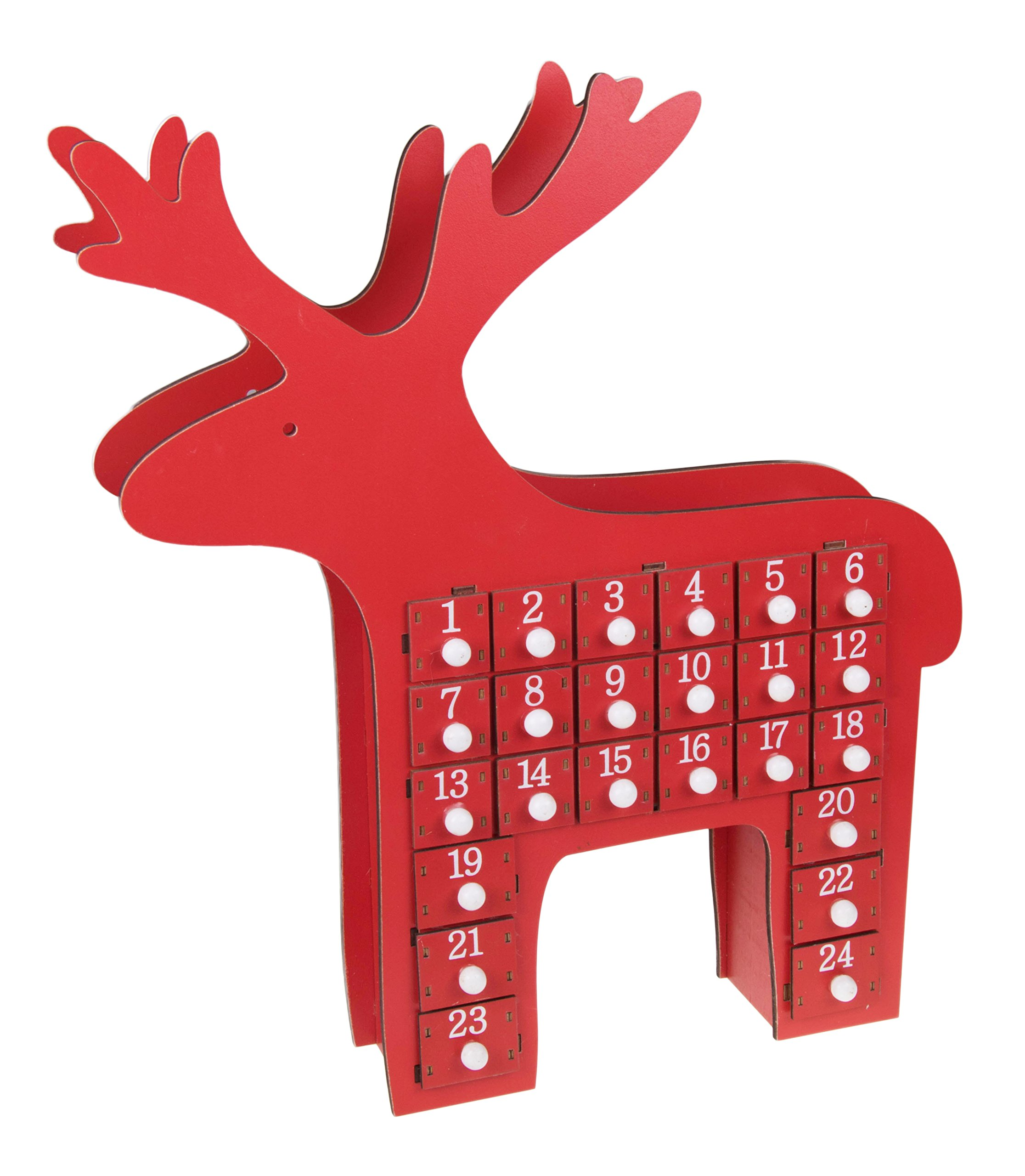 Red Reindeer Advent Calendar by Clever Creations | 24 Day Countdown to Christmas Calendar | Premium Décor | Painted Rudolph | Wood Construction | Cute Holiday Decoration | Measures 15'' x 2.75'' x 17.5''