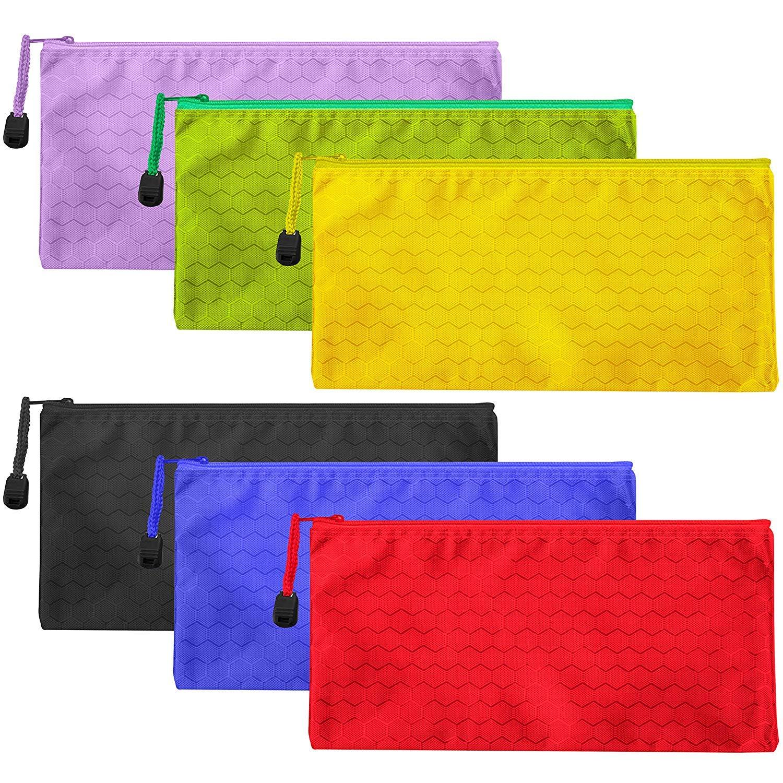 Lot de 6 trousses /à crayons /étanches avec fermeture /éclair pour maquillage fournitures de bureau et accessoires de voyage 6 couleurs