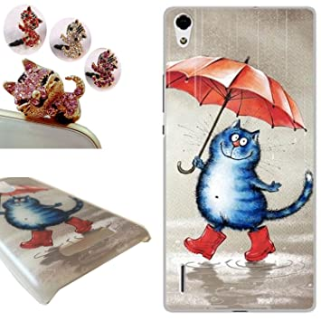 Huawei Ascend P7 funda ,LovelyC Huawei Ascend P7 Carcasa, (Gato y paraguas) Protectora de Plastica de Duro PC Funda Tapa Case Cover para Huawei Ascend ...