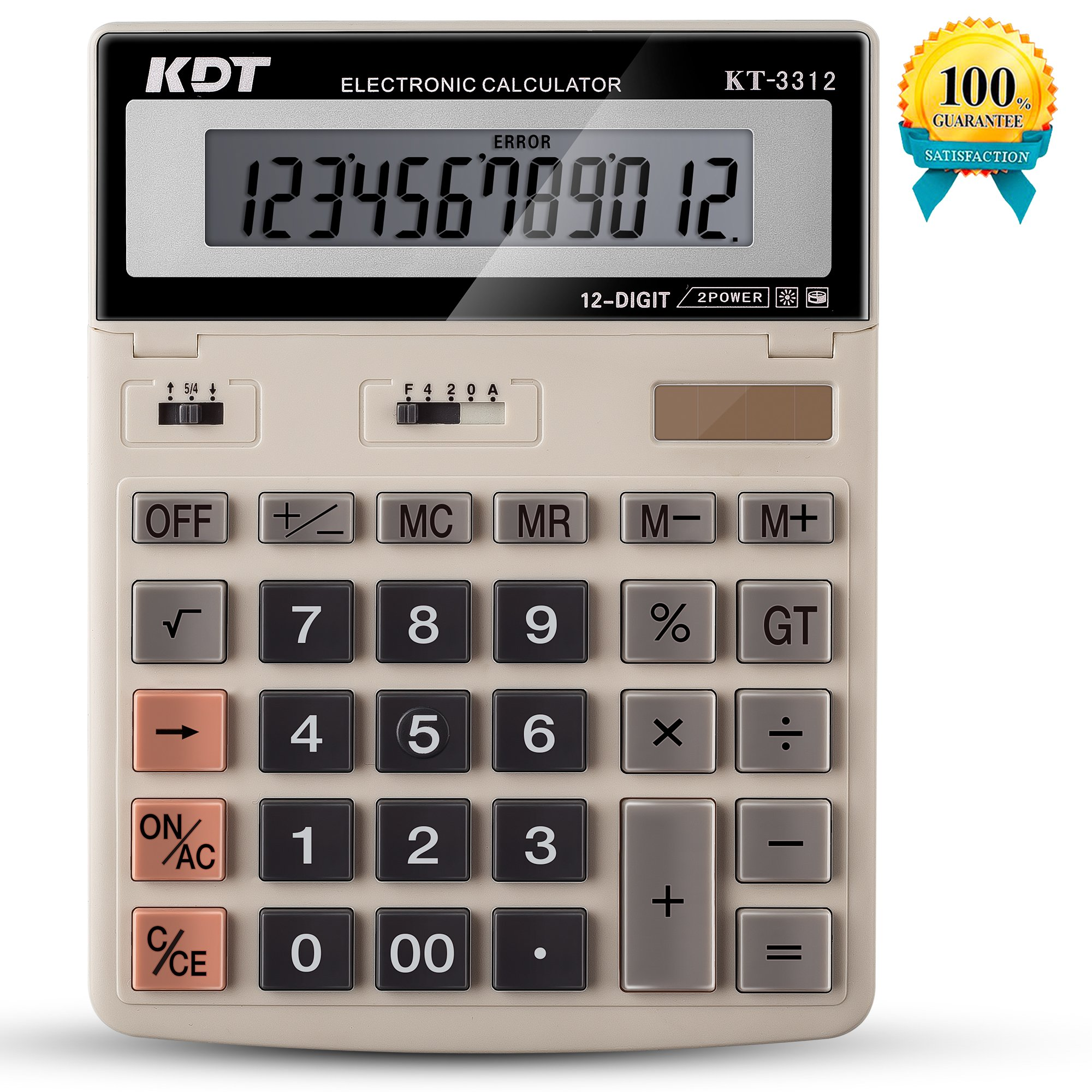 Calculator, KDT Handheld Standard Function Desktop Calculators, Solar Battery LCD Display Office Calculator, Flip Screen With 12 Digit Large Display (Ivory) by KDT