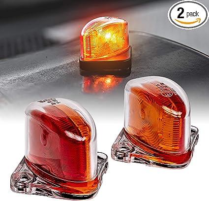 2pc 7 Amber DOT Approved SAE P2 IP67 Waterproof Trailer Clearance Marker Lights for Boat Utility Trailer Hauler Car Red LED Trailer Fender Light Set