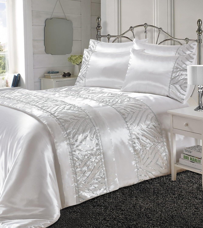 3 Pcs Sequin Duvet Cover Set Filled Cushion Bed Runner Pillowcase Cushion Covers