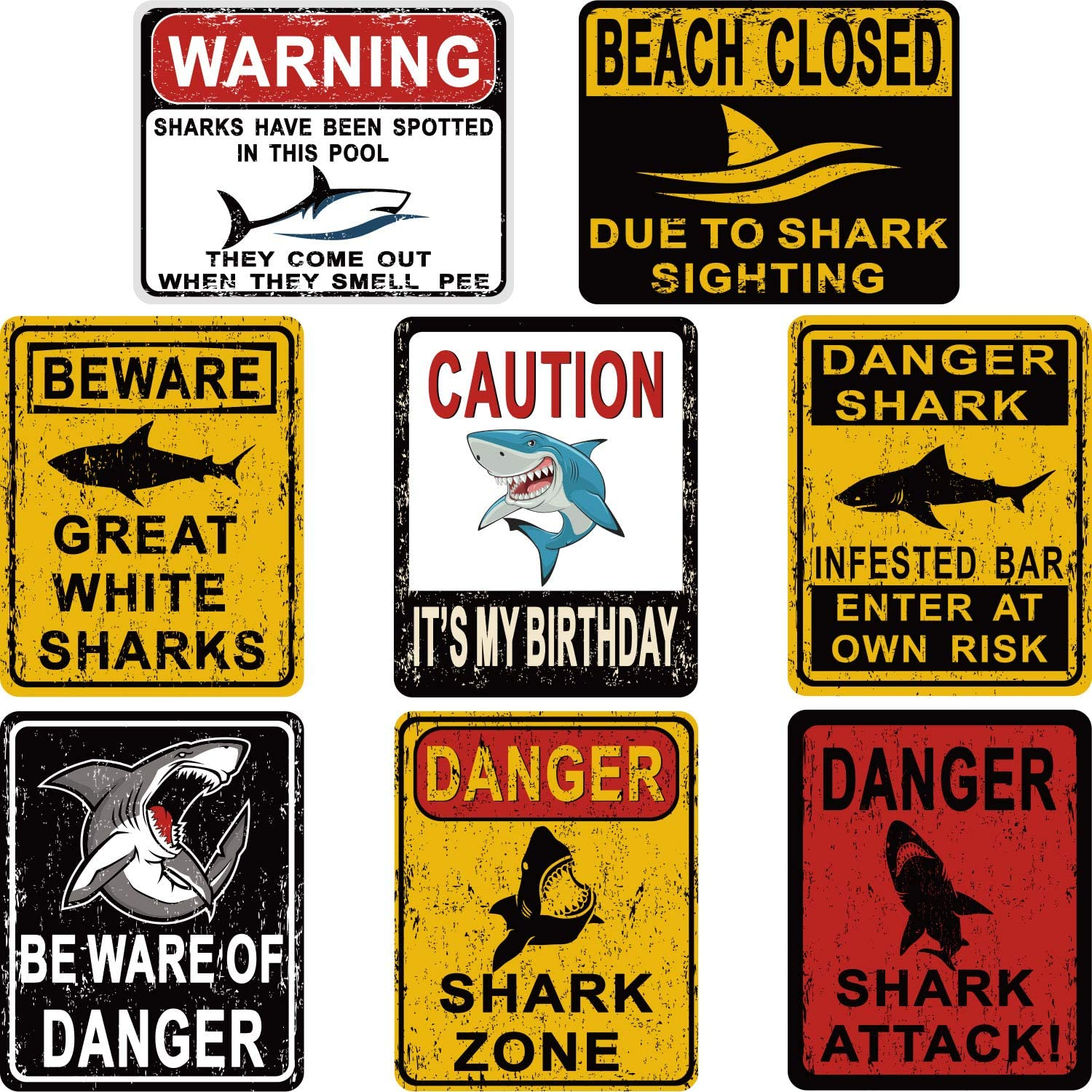 8 Styles Shark Zone Party Decorations, Funny Be Ware of Sharks Party Wall Decor Signs for Boys Girls Birthday Party, Ocean Shark Theme Party Supplies with Adhesive Design Wall Sticker