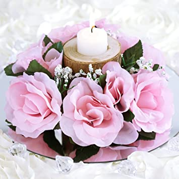 Amazon Balsacircle 8 Pink Silk Roses Candle Rings Artificial