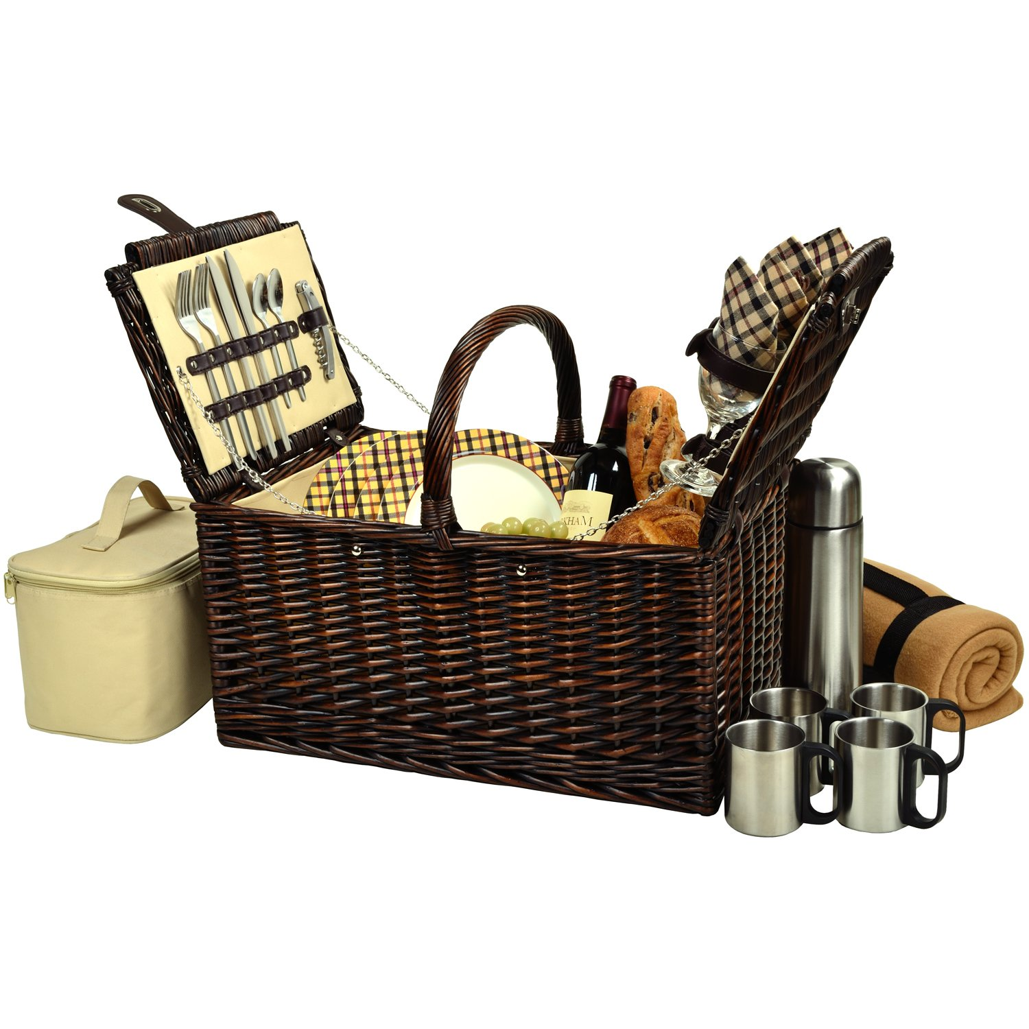 Picnic at Ascot Buckingham Willow Picnic Basket with Service for 4 with Blanket and Coffee Service - London Plaid
