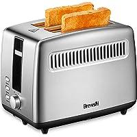 Grille-Pain Automatique, Brewsly Grille Pain Inox avec 2 Fentes Extra Larges, Toaster Multifonctionnel, Décongeler, Réchauffer et Annuler, 6 Niveaux de Brunissage, 850W
