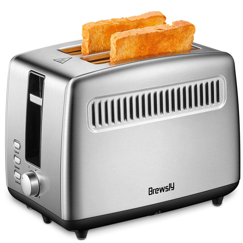 Grille-Pain Automatique, Brewsly Grille Pain Inox avec 2 Fentes Extra Larges, Toaster Multifonctionnel, Décongeler, Réchauffer et Annuler, 6 Niveaux de Brunissage, 850W product image