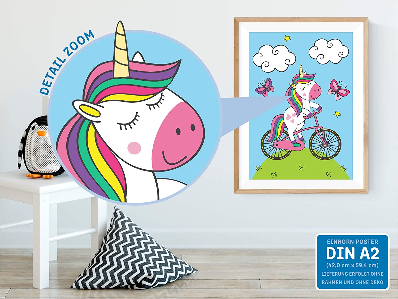 p/óster decorativo para ni/ñas im/ágenes de habitaci/ón infantil unicornios kizibi/® P/óster de unicornio DIN A2 para habitaci/ón de ni/ños y beb/és