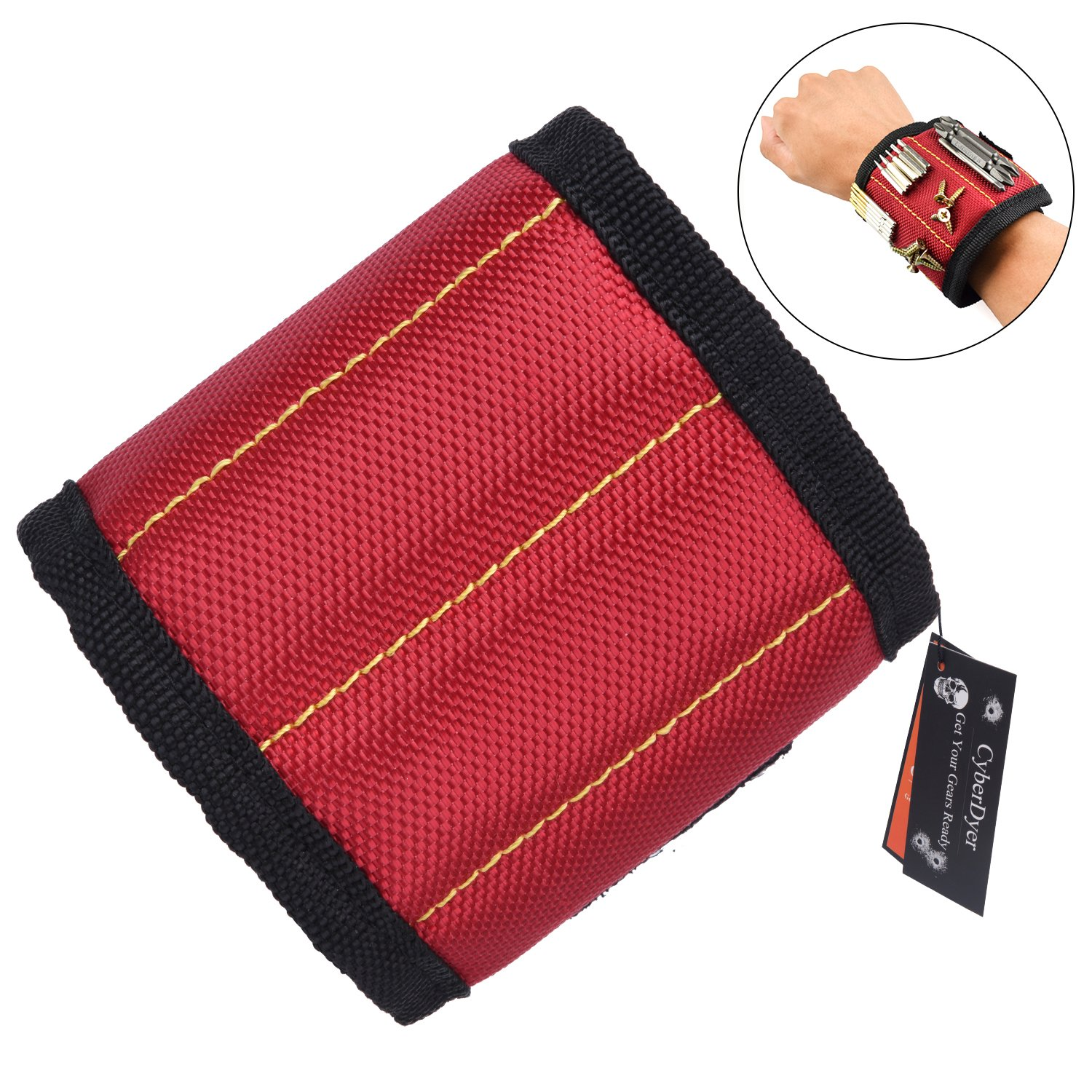CyberDyer Portable Magnetic Wristband with Strong Magnets for Holding Screws Nails Drill Bits Best Tool Gift for DIY