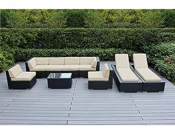 Amazon Com Ohana 9 Piece Outdoor Patio Furniture Sectional Sofa And
