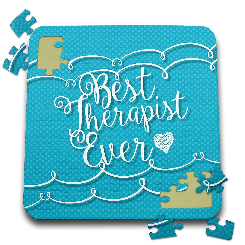 3dRose Russ Billington Designs- Connected- Sentiments - Best Therapist Ever Sentiment in Connected Scipt Over Blue Polkadots - 10x10 Inch Puzzle (pzl_302320_2)